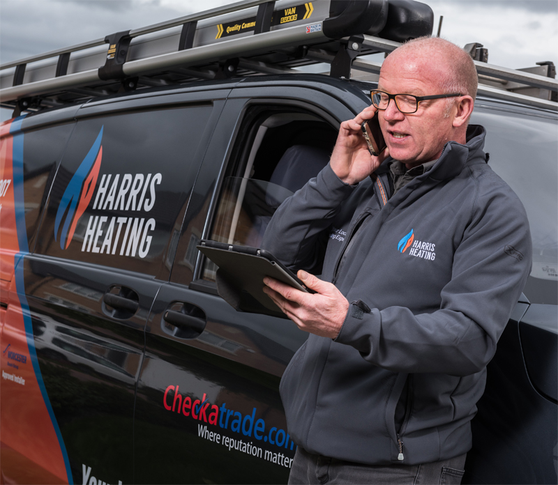 Harris Heating on phone to a client